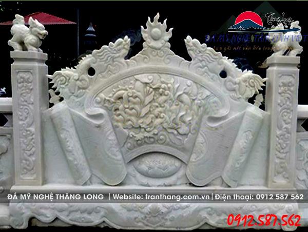mẫu cuốn thư đá bằng đá trắng do Đá Mỹ Nghệ Thăng Long điêu khắc