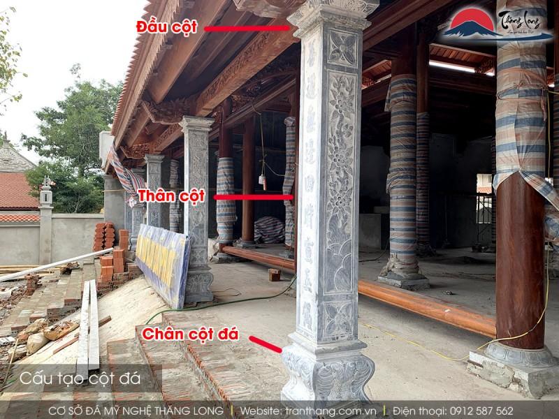 Cấu tạo cột đá gồm 3 phần: đầu cột, thân cột và chân cột
