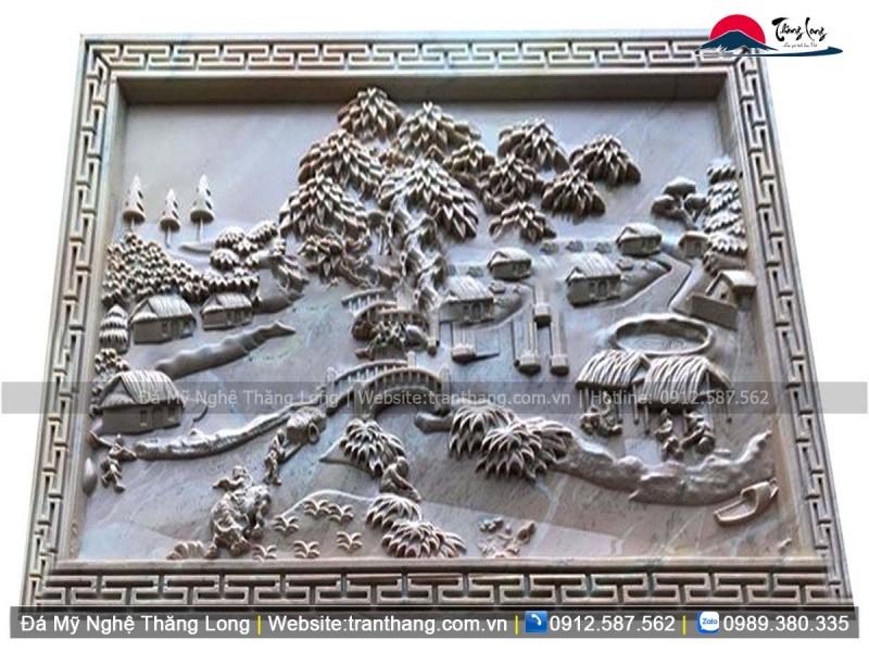 Mẫu chiếu đá cảnh đồng quê Việt Nam, non nước hữu tình