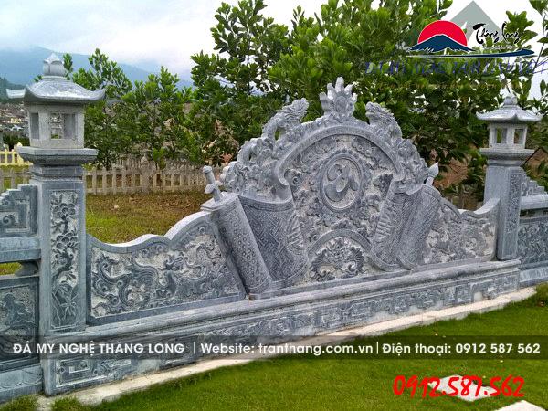 hình ảnh cuốn thư đá Rồng Chầu Nguyệt do Đá Mỹ Nghệ Thăng Long điêu khắc