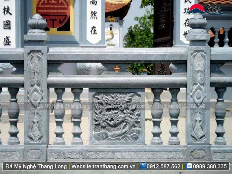 Mẫu hàng rào đá lăng mộ chạm khắc tứ quý