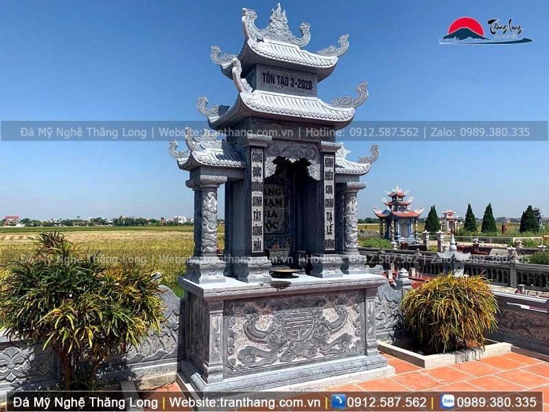 Kích thước long đình đá 210 cm x 107 cm, lắp đặt tại Tỉnh Nam Định