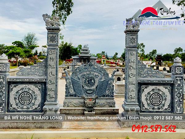 mẫu bình phong lăng mộ đẹp do Đá Mỹ Nghệ Thăng Long điêu khắc