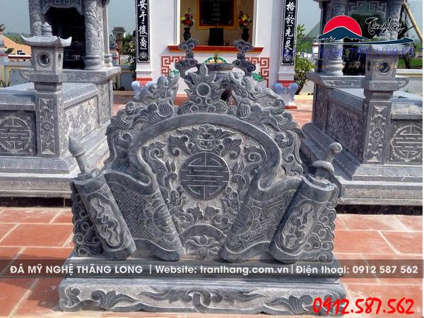 mẫu cuốn thư đá lăng mộ chạm khắc hoa văn lưỡng long chầu nguyệt.