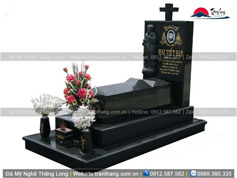 mộ công giáo bằng đá granite kim sa cám