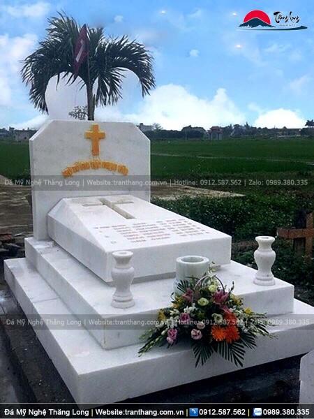 mộ tam cấp công giáo bằng đá trắng