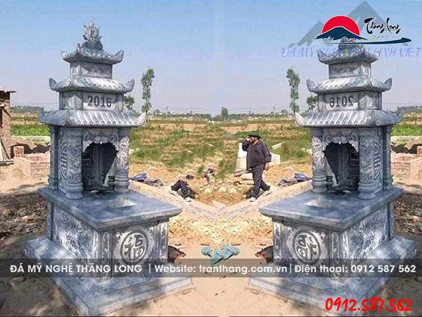 Xây mộ đá 3 mái đao cho gia tiên tại Cần Thơ, Vĩnh Long, Long An