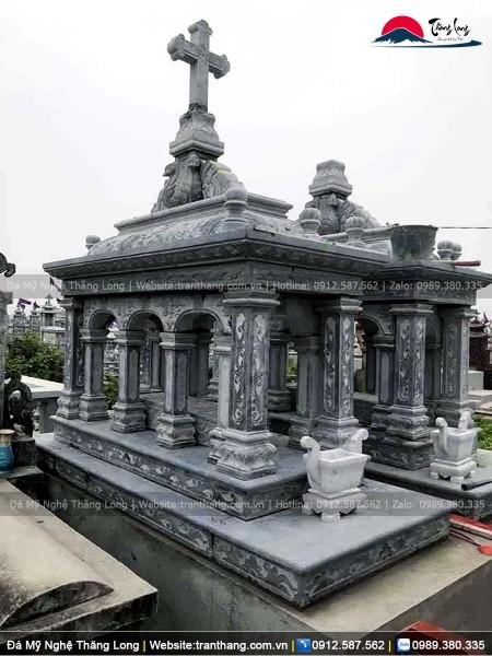 Mộ công giáo bằng đá xanh đen