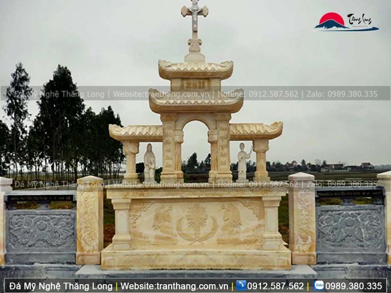 Mẫu mộ đá công giáo bằng đá vàng