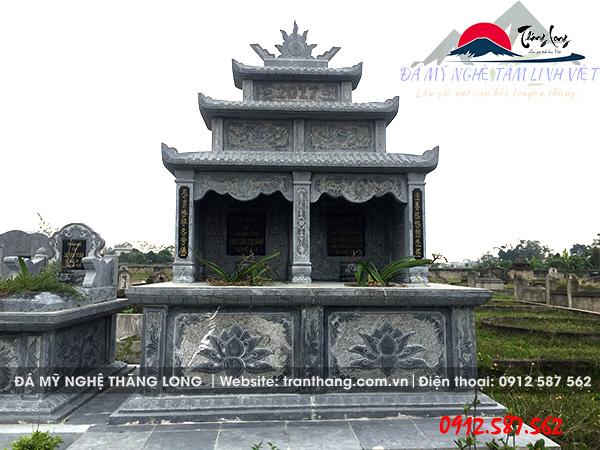 Mẫu mộ đôi đá xanh nguyên khối bán tại Tuyên Quang, Vĩnh Phúc, Yên Bái.