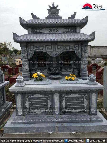 Mẫu mộ đá đôi hai mái kiểu ngói ống trạm chữ THỌ hình vuông