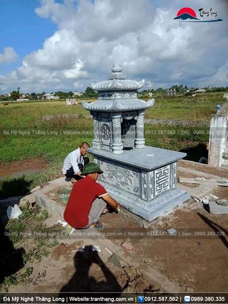 Hoàn thiện lắp đặt mộ hai mái cho gia đình