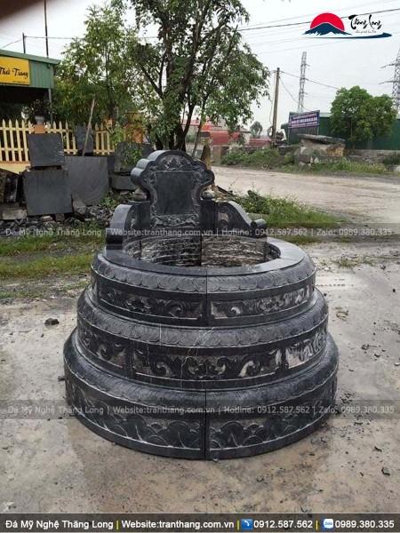 Mẫu mộ đá tròn đá đen