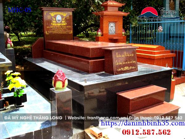 Mẫu mộ ốp đá granite đỏ Bình Định